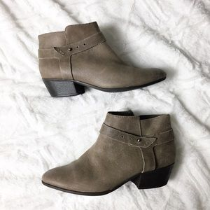 Clarks Ankle Bootie Gray Suede Adjustable Strap